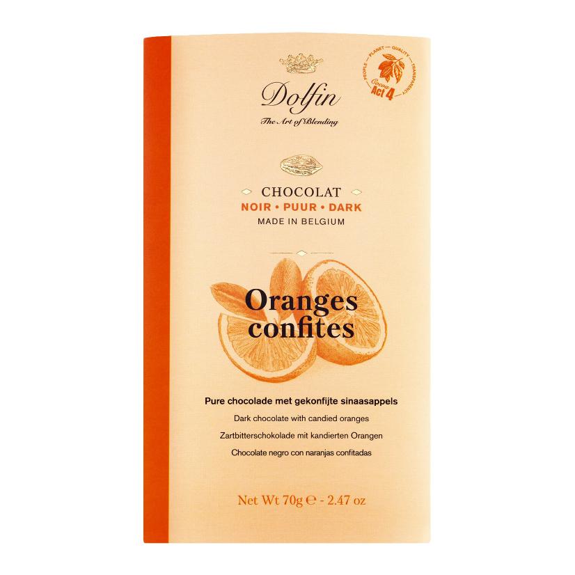 Zartbitterschokolade mit kandierten Orangen 70 g