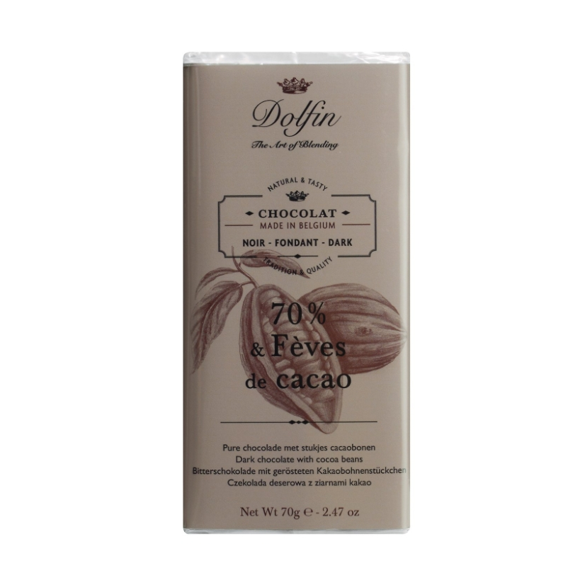 Zartbitterschokolade mit Kakaosplittern